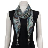 Scarves - Tropical Peacock with Hanging Pendants - Green-Navy