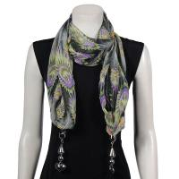 Scarves - Tropical Peacock with Hanging Pendants - Black-Purple