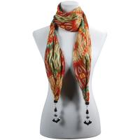 Scarves - Tropical Peacock with Hanging Pendants - Olive-Red