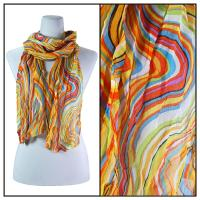 Skinny Scarves - Crinkled Chiffon - Rainbow Print - Orange