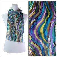 Skinny Scarves - Crinkled Chiffon - Rainbow Print - Purple