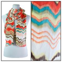 Skinny Scarves - Crinkled Chiffon - Zig Zag - Orange