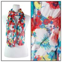 Skinny Scarves - Crinkled Chiffon - Big Floral - Red