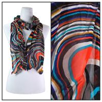 Skinny Scarves - Crinkled Chiffon - Multi Swirl - Orange