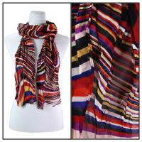 Skinny Scarves - Crinkled Chiffon - Multi Swirl - Red