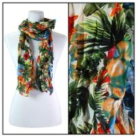 Skinny Scarves - Crinkled Chiffon - Rainforest - Red