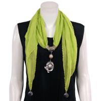 Scarves - Oval Pendant Drop - Chiffon - Spring Green