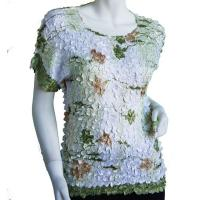 Satin Origami Petal Shirts - Cap Sleeve - White, Green, & Brown Floral