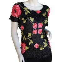 Satin Origami Petal Shirts - Cap Sleeve - Black with Roses