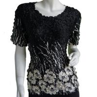 Satin Origami Petal Shirts - Cap Sleeve - Ivory Poppies on Black
