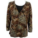 Queen Size Slinky - Mock Cardigan - Animal Print with Brown and Gold Accent - Black