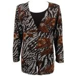 Queen Size Slinky - Mock Cardigan - Zebra Floral Brown - Dark Brown