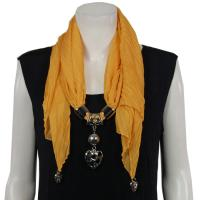 Scarves - Hearts on Heart Pendant - Chiffon - Mustard