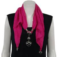 Scarves - Hearts on Heart Pendant - Chiffon - Magenta