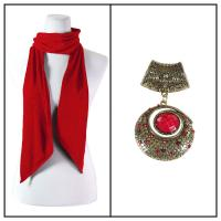 Scarves - Magic Slinky w/ Pendant - Red w/ Pendant #087