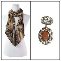 Scarves - Magic Slinky w/ Pendant - Swirl Animal Beige w/ Pendant #126