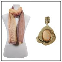 Scarves - Crinkled Ombre w/ Pendant - Brown-Gold w/ Pendant #389