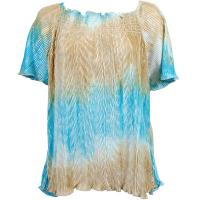 Wave Satin Mini Pleats - Cap Sleeve - Sand-Sky Blue