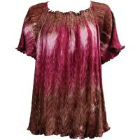 Wave Satin Mini Pleats - Cap Sleeve - Brown-Mauve