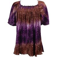Wave Satin Mini Pleats - Cap Sleeve - Brown-Purple