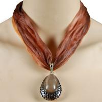 Tie Dye Scarf Necklace - Brown