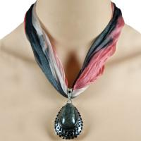 Tie Dye Scarf Necklace - Black