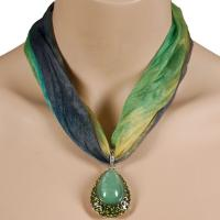 Tie Dye Scarf Necklace - Green