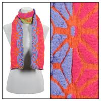 Scarves - Embossed Knit 3877 - Orange-Fuchsia
