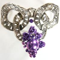 Scarf to Belt Accessory - 101 - Silver-Purple