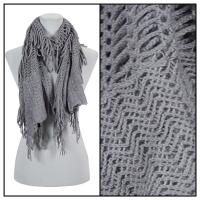 Scarves - Crochet Fishnet Tubed 4083 - Grey