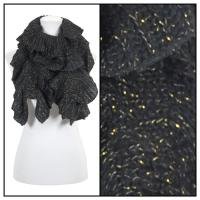 Scarves - Ruffle Knit Metallic 4085 - Black