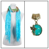Scarves - Crinkled Watercolors 22 w/ Pendant - Sky Blue-Green-Orange w/ Pendant #393