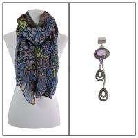 Scarves - African Abstract 1012 w/ Pendant - Purple w/ Pendant #399