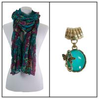 Scarves - African Abstract 1012 w/ Pendant - Teal w/ Pendant #393