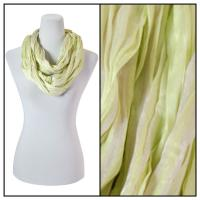 Infinity Scarves - Cotton/Silk Blend 100 - Striped Lime-Tan
