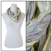 Infinity Scarves - Cotton/Silk Blend 100 - Striped Grey-Yellow