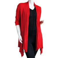 Magic Convertible Long Ribbed Sweater - Red