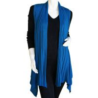 Magic Convertible Long Ribbed Sweater Vest - Azure
