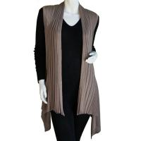 Magic Convertible Long Ribbed Sweater Vest - Taupe