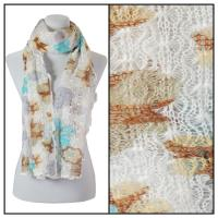 Scarves - Crochet Flower 3097 - White