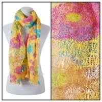 Scarves - Crochet Flower 3097 - Yellow