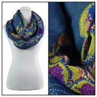 Infinity Scarves Wide - Polyester 1017 - Flower Border - Blue