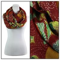 Infinity Scarves Wide - Polyester 1017 - Flower Border - Red