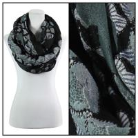 Infinity Scarves Wide - Polyester 1017 - Flower Border - Black