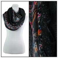 Infinity Scarves Wide - Polyester 1017 - Vintage Border - Black