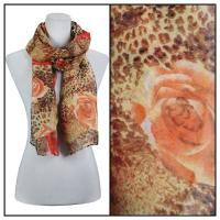 Scarves - Leopard & Roses 3132 - Brown