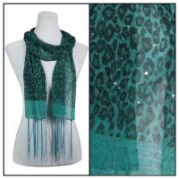 Scarves - Sequined Leopard 3139 - Green