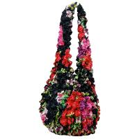 Carteras de Popcorn de lujo - Pink-Red Floral on Black- Black