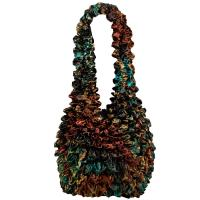 Carteras de Popcorn de lujo - Abstract Lilies Copper-Teal - Dark Brown