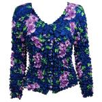 Gourmet Popcorn - Collarless Cardigan - Navy with Purple Flowers